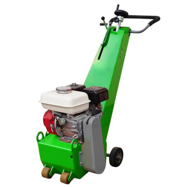 Schmale Bodenfräsmaschine DBF-250-B mit mehrfarbigem Motorelement und einem überwiegenden Grünton wird auf diesem Produktbild frontal abgebildet.