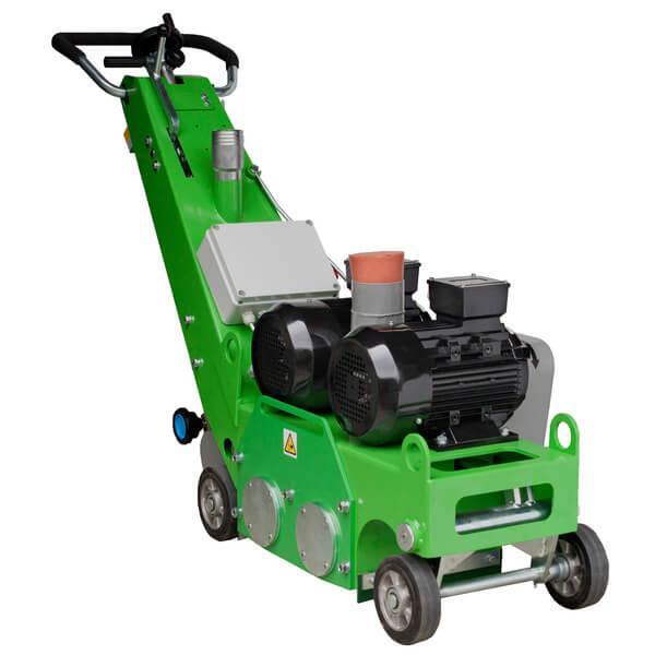 Die Bodenfräsmaschine DBF-250 TWIN besitzt vier normale Räder und zwei Antriebstrommel für eine effektiveres und leistungsstärkeres Arbeiten, hier abgebildet.