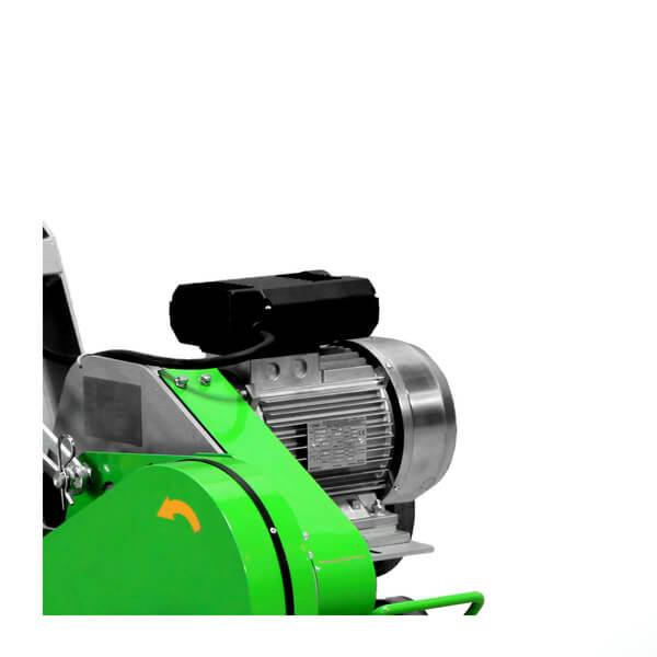 The chamfer cutter DCS-200 is also available in an electronic version for a modern and precise way of cutting joints, has wheels and a green color.