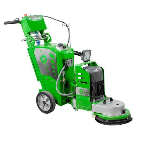 Grüne innovative Einscheiben-Schleifmaschine DBS-300 Vario mit überwiegend grünem Farbton und silbernen Markierungsplatten mit der Aufschrift Dr. Schulze.