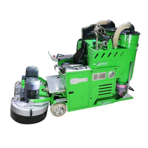 Auf diesem Bild ist die weltweit größte Aufsitz-Boden-Schleifmaschine DBS-1520-8H mit ihren Maschinenbestandteilen und Schleifvorrichtungen abgebildet.