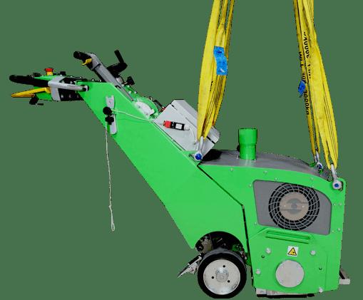 Die Seitenansicht der innovativen Bodenfräsmaschine DBF-380 TWO-In-ONE verrät auf dem Bild viele anschauliche Details über die clever konzipierte Maschine.