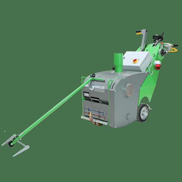 Die Frontalansicht der innovativen Bodenfräsmaschine DBF-380 TWO-In-ONE verrät auf dem Bild viele anschauliche Details über die clever konzipierte Maschine.