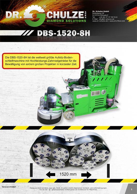 Die große, einzigartige Aufsitz-Bodenschleifmaschine DBS-1520-8H wird seitlich dargestellt plus eine Unteransicht der acht kombinierten Schleifwerkzeuge.