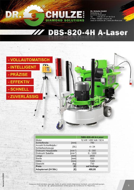 Die hochmoderne Bodenschleifmaschine DBS-820-4H A-Laser wird in diesem Infoblatt mit allen wichtigen Daten, Informationen und Anleitungen vorgestellt.