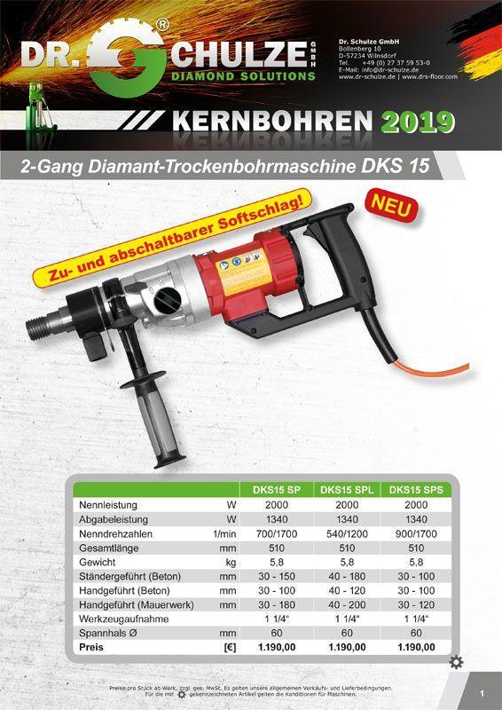 Die rote und schwarze Diamant-Trockenbohrmaschine DKS15 wird auf dieser Infoblattvorschau seitlich präsentiert für eine bessere Sicht auf die Maschine.