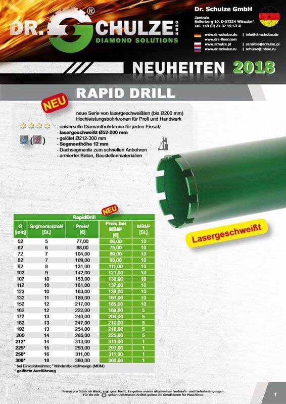 Der grüne längliche Rapid Drill Neuheit ragt aus dem rechten Rand des Vorschaubildes in die Bildmitte und wird von den wichtigsten Fakten eingerahmt.