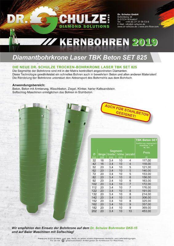 Das innovative, dunkelgrüne TBK-Beton-SET-825 wird hier nebeneinander dem Kunden dargestellt und mit wichtigen Informationen und Fakten bestückt.