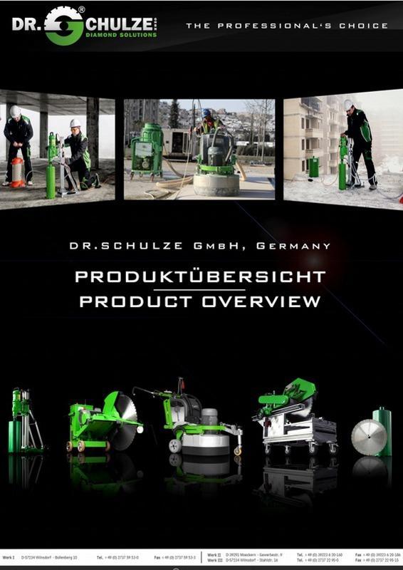 Ein dunkles Vorschaubild mit herausstechenden Maschinen zum Flyer der Produktübersicht über die aktuellen und innovativen Neuerungen der Dr. Schulze GmbH.