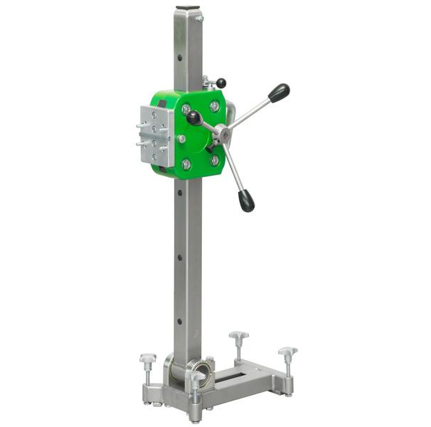 The drill stand B-25 of the Xpert series is mainly silver but has an impressive green drilling unit for bores up to 250 millimeters for a safe tillage.