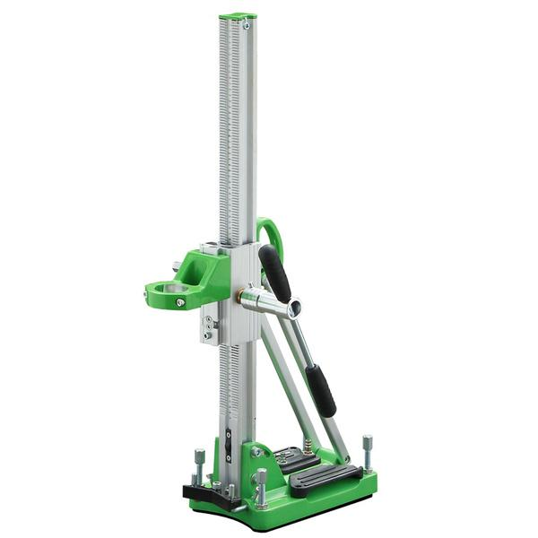 Ultra-light drill stand D-160 V with green base plate and silver movement bar as well as fixing screws for holes up to 160 millimeters for a fast tillage.