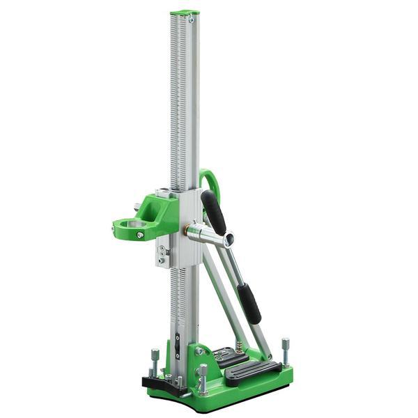 Ultraleichter Bohrständer D-160 V mit grüner Fußplatte und silberner Bewegungsleiste sowie Fixierungsschrauben für Bohrungen bis 160 Millimeter.