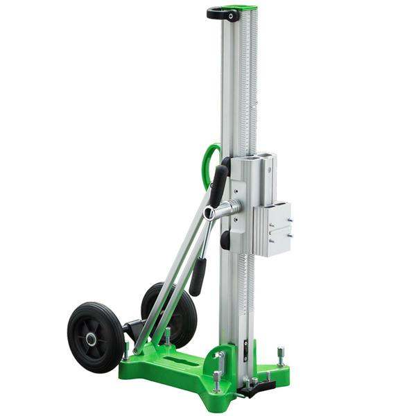 Green silver drill stand D-350 R with large transport rollers and stable stand, high guide bar for variable drill sizes resulting in great results.