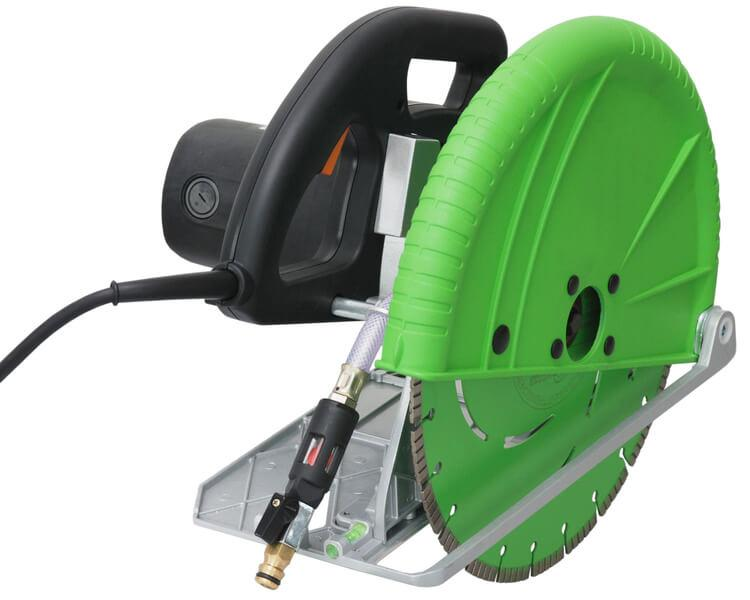 Green electric hand cutting machine DRS HS-351 for wet and dry use and cutting depths up to 140 mm in a robust and compact design for safe and fast work.