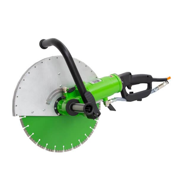 Light and robust high frequency hand saw DRS-TS400 for operation with 230V / 400V voltage, the handle is stepless. Suitable for cutting depths up to 165 mm.