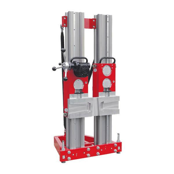 Robust and adjustable double column drill stand system B800 for hydraulic drill motors and bores up to Ø 800 mm and a carrier module for the RD3500.