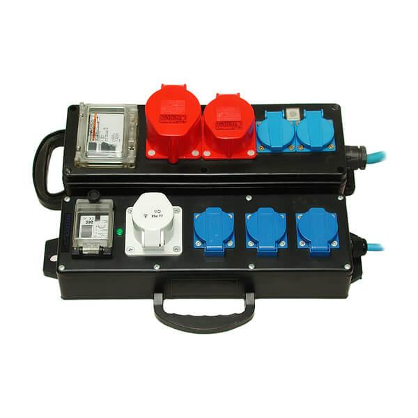 Black and blue power strip FI-Box FI 230 for Dr. Schulze core drilling machines. Safe and stable energy supply guaranteed in every environment.