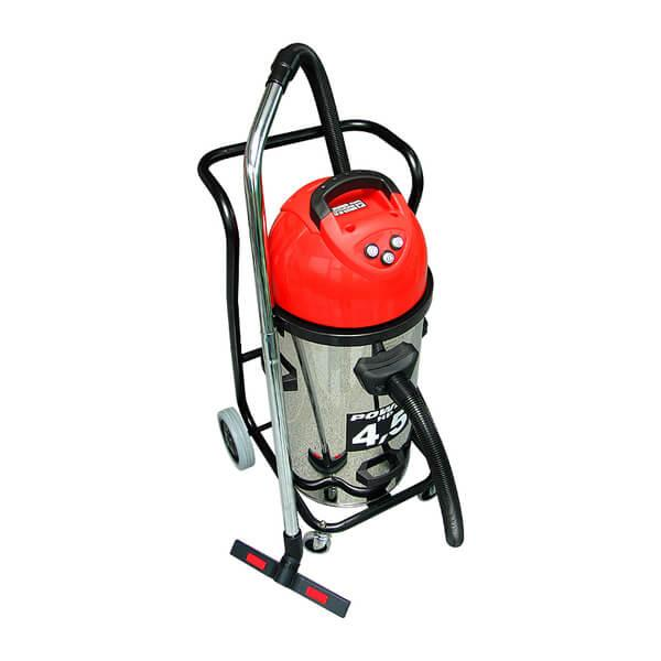 Red and silver water / dry vacuum cleaner NL 3/70 T / N in use with Dr. Schulze machines. Among other things, guaranteed clean and fast work.