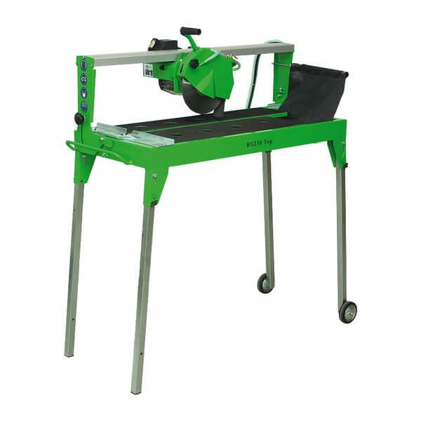 The BS-230 is a small and handy table saw for cutting discs with a diameter of up to 230 mm and contains four legs with movable rollers for easy transport.