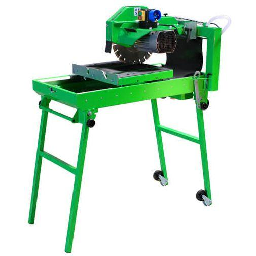 The BS-350 LST is a movable table saw and contains a 2.2 kW motor and cuts with a maximum length of 650 mm, whereby the cutting disc has a diameter of 350 mm.