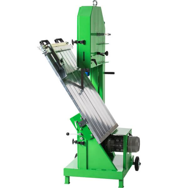 Green mobile band saw with a robust construction, automatic band tensioning mechanism and folded cutting table with a quick band change for fast working.