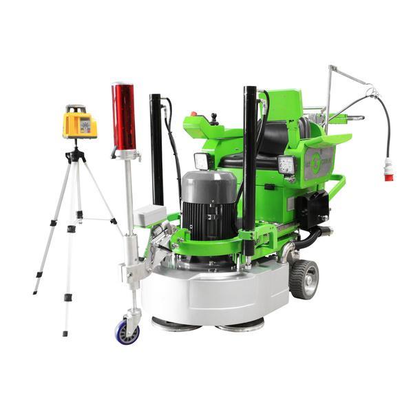 Revolutionäre Mehrscheiben-Schleifmaschine DBS-820-4H A-Laser ist, wie hier abgebildet, mit einem Laser-Zubehör und einem stabilen Stativ ausgestattet.