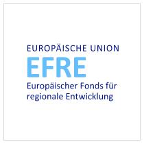 Präsentationsbild zur Veranstaltung EFRE – Europäischer Fonds für regionale Entwicklung, unterschiedlich blaue Farbe auf einem weißen Untergrund positioniert.