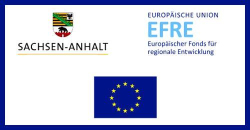 Ein rechteckiges Bild mit blauem Rahmen wird hier dargestellt, in dem Rahmen ist die europäische Flagge, das Wappen Sachsen-Anhalts und der EFRE.