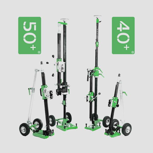 New and innovative drill stands series PB 40+ / 50+ with green, silver and black colors with flexible transport and adjustable height for a fast tillage.