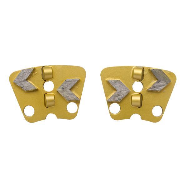 Die goldenen Doppel Stützsegmente PCD-Xpert-2R mit makellosem Äußeren für Fräseinsätze überzeugen auf ihren Produktfotos mit ihren Einsatzmöglichkeiten.