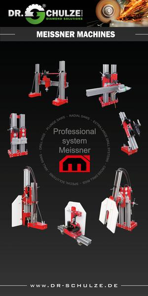 Red machine series from Dr. Schulze GmbH arranged in a circle on a black price sheet called Kombi-System Meissner for various purposes like floor tillage.