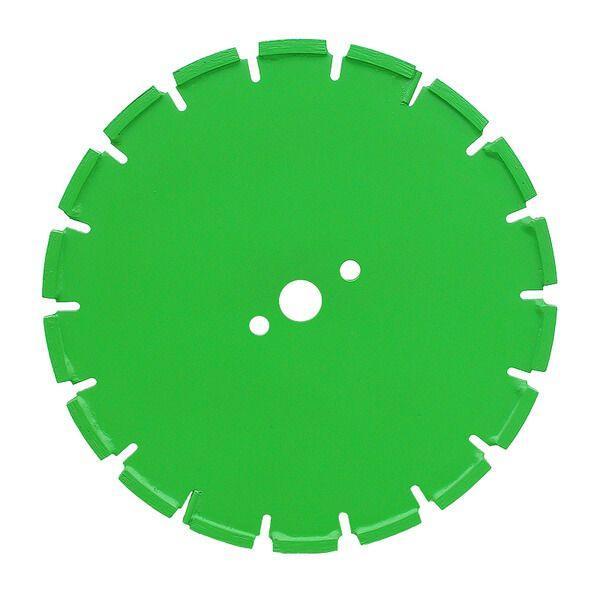 Auf diesem Foto ist die stabile Trennscheibe RF-B zu sehen, die eine grüne Farbe besitzt, eine runde Form hat und einen verzahnten Rand besitzt.