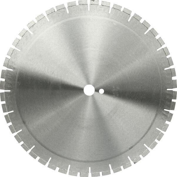 Auf dem Produktfoto der Diamanttrennscheibe TT-HS1 ist die graue und silberne Trennscheibe mittig angeordnet und nimmt den Großteil der Fläche ein.
