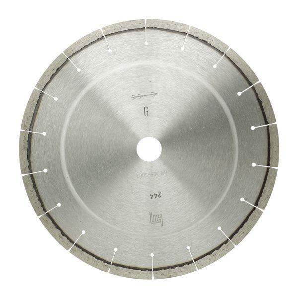 Die L-Granit Diamanttrennscheibe wird auf diesem Produktfoto bei der Verwendung mit Handtrennmaschinen dargestellt, um die Verwendungsart darzustellen.