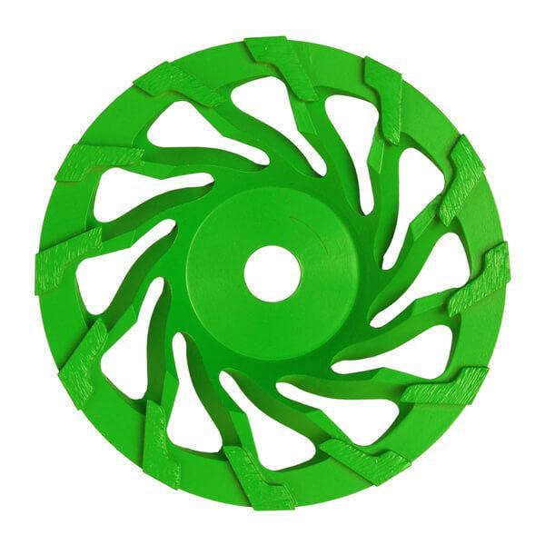 Auf dem Produktfoto des Diamantschleiftellers ST-Spiral ist der Schleifteller in der Mitte des Fotos aus einer frontalen Ansicht positioniert.