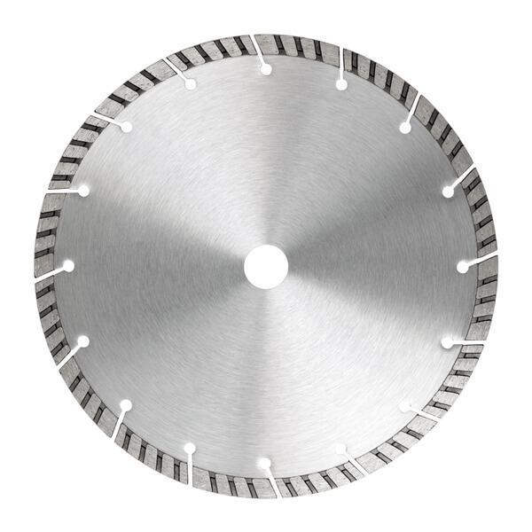 In der Mitte dieses Produktfotos ist die grau silberne Diamanttrennscheibe Uni-X10 frontal abgebildet, um die Eigenschaften bestmöglich darzustellen.