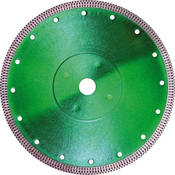 Die große Diamanttrennscheibe Ultra Ceram in toller grüner Farbe eignet sich für die Bearbeitung von Fliesen oder Keramik mit Steintrennmaschinen.