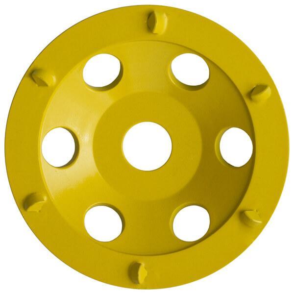 Hier ist eine innovative gelbe Schleifplatte für Handschleifmaschinen mit kleinen Löchern und Erhöhungen zu sehen, die den Namen ST-PCD-R trägt.