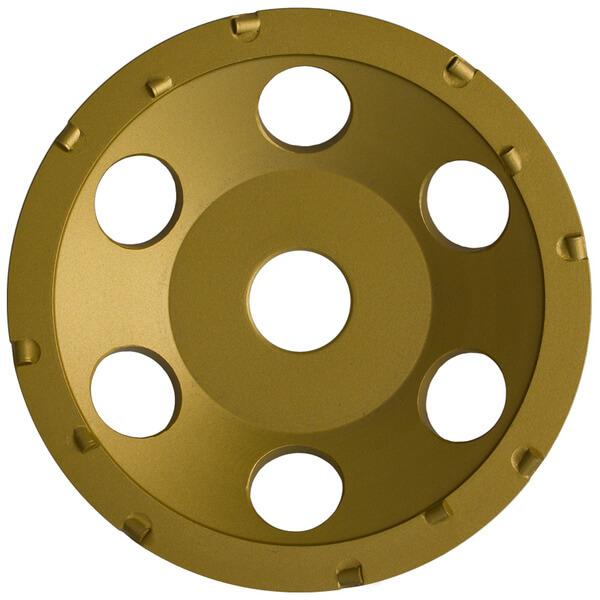 Die runde Schleifplatte ST-PCD-U ist ein innovatives und langlebiges Werkzeug für Handschleifmaschinen in goldener Farbe gestaltet mit verschiedenen Aufsätzen.