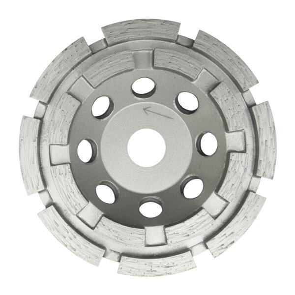 Runder und grauer Schleifteller für härtere feuerfeste Materialien. Effizientes Arbeiten durch 2-reihiger Aufbau. Erhältlich in verschiedenen Durchmessern.
