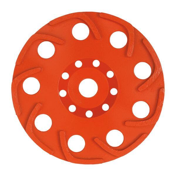 Roter und runder Schleifteller Hawk mit Segmenthöhen von 5 mm. Effektives Arbeiten für Beton, Naturstein und Beschichtungen bei unterschiedlichen Durchmessern.