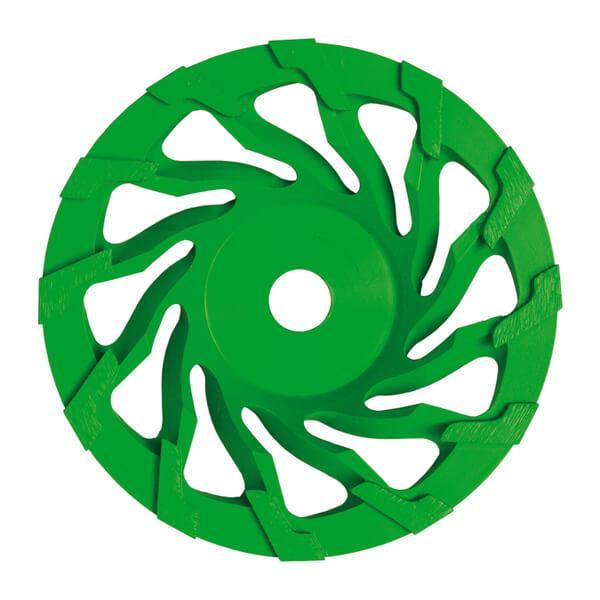 Grüner und runder ST-Spiral Schleifteller mit Segmenthöhen von 5 mm garantier effektives und sicheres Arbeiten bei Beton, Naturstein, Beschichtungen.