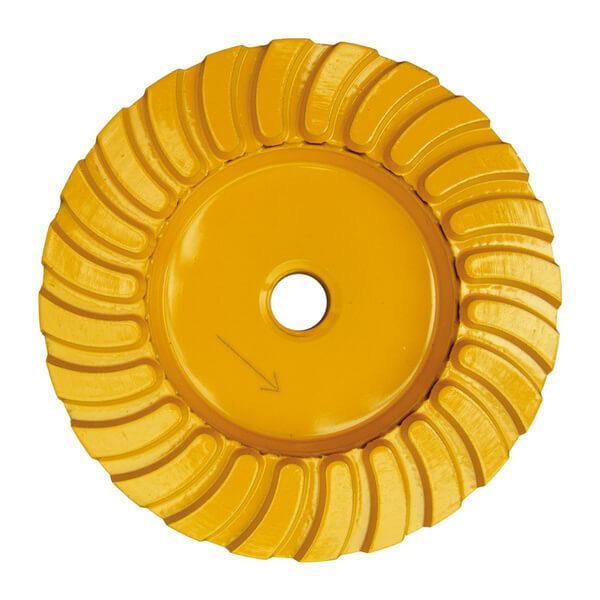 Gelber und runder STT-F Schleifteller Turbo garantiert effektives Arbeiten mit Feinschluss bei Naturstein und Beton Böden. Erhältlich in vielen Durchmessern.