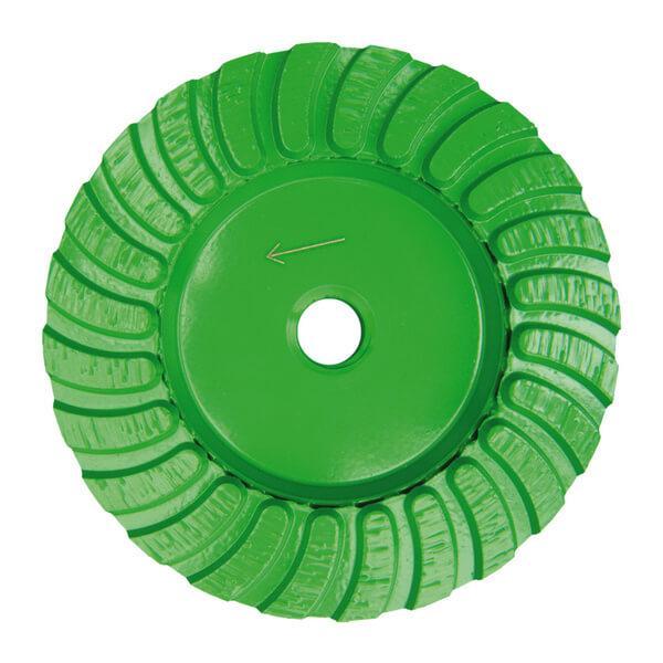 Grüner und runder STT-G Schleifteller Turbo garantiert effektives Arbeiten mit Grobschliff bei Naturstein und Beton Böden. Erhältlich in vielen Durchmessern.