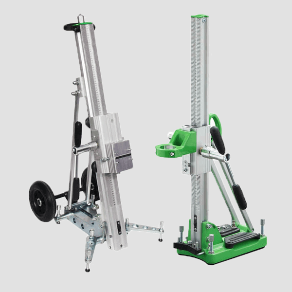 Combinations of two drill stands of the D series with a fixed stand, the colors green and silver adorn these innovative construction machines.