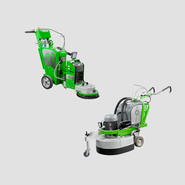 Zwei innovative Bodenschleifmaschinen in grüner und silberner Farbe sind von vorne sichtbar gemeinsam mit ihren umfangreichen Anwendungsmöglichkeiten.