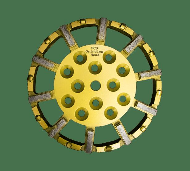 Die gelb-goldene Schleifplatte DRS-250-PCD für Fräseinsätze ist auf der Nahaufnahme mit allen wichtigen Einzelheiten und Segmentspezifikationen abgebildet.