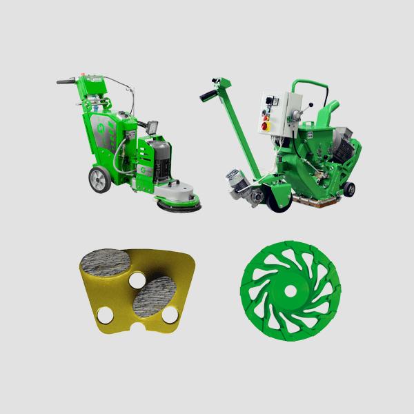 DRS-FLOOR Betonvergütungsmittel eignen sich zu der Verwendung mit verschiedenen Maschinenarten der Dr. Schulze GmbH, die hier teilweise dargestellt werden.