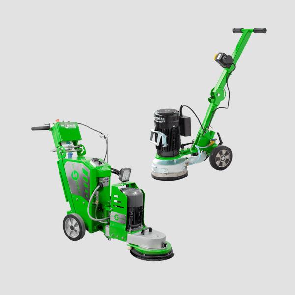 Zwei Bodenschleifmaschinen mit einer Schleifscheibe und ergonomischem Griff für präzise Arbeiten sind auf diesem Bild mit ihrer grünen Farbe dargestellt.