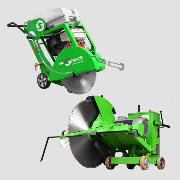 Handy and compact floor saw in the classic Dr. Schulze green for various applications and a very fast tillage, illustration on gray background.